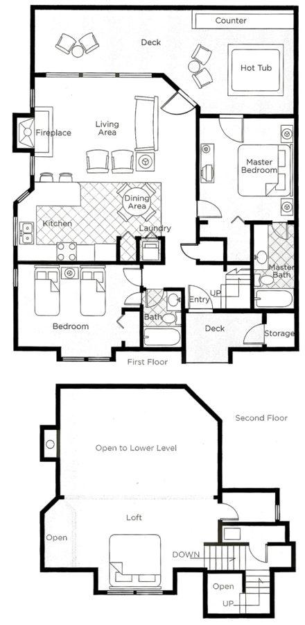Two Bedroom Loft Floorplan. Book Now.