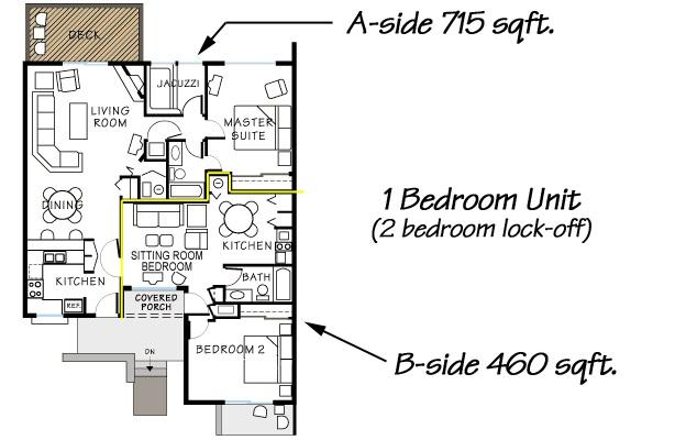 One Bedroom Deluxe Floorplan. Book Now.